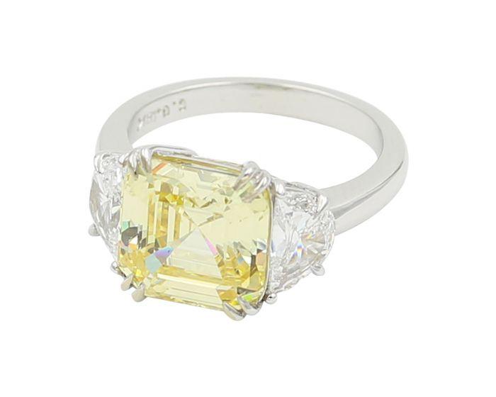 18kt White Gold Three Stone Radiant Diamond Engagement Setting .95 c.t.w.