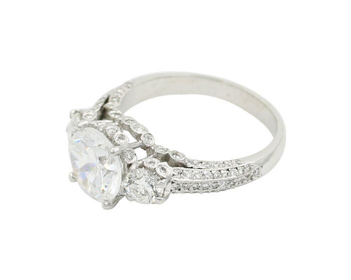 18kt White Gold Three Stone Diamond Engagement Setting 1.13 C.T.W
