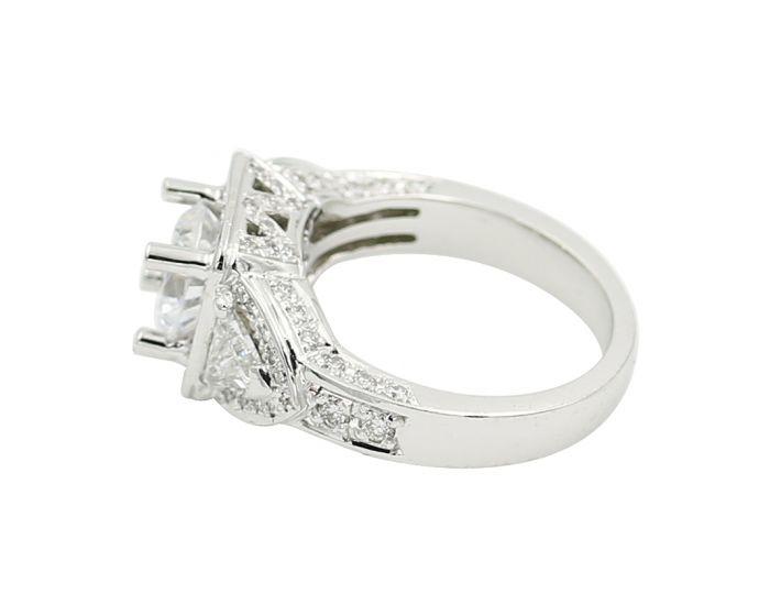 Gregg Ruth 18kt White Gold Three Stone Trilliant Diamond Engagement Setting 1.12 c.t.w.
