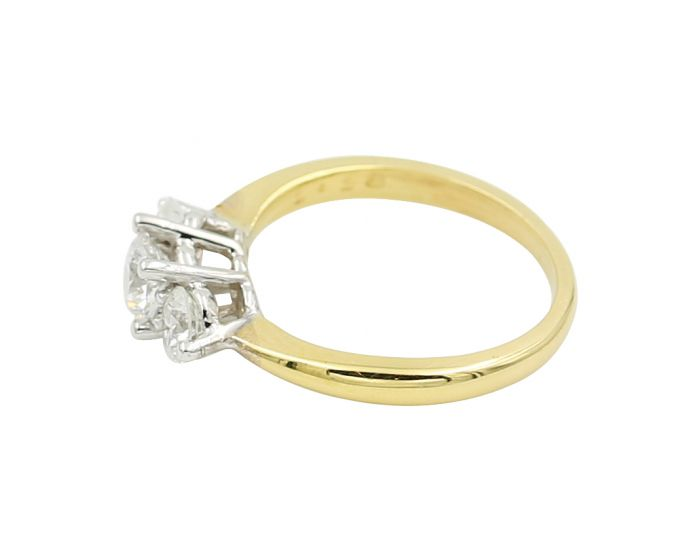 18kt Two Tone Three Stone Diamond Engagement Ring 1.18 C.T.W