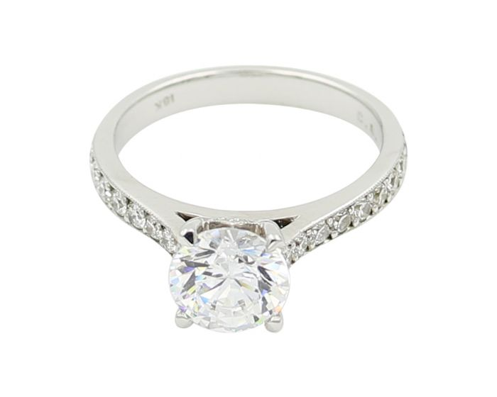 18Kt White Gold Milgrain Diamond Sidestone Setting .48 C.T.W.