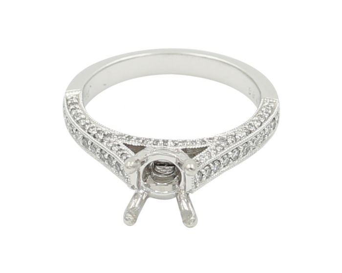 Platinum Pave Diamond Engagement Setting .43 T.C.W