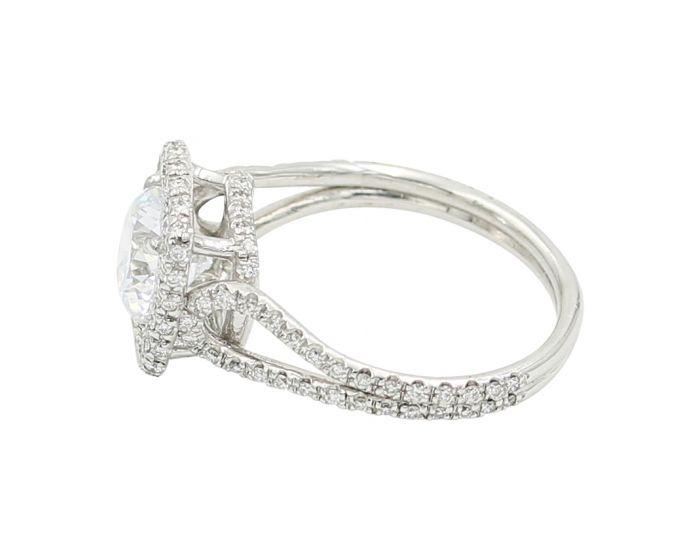 18kt White Gold Diamond Cushion Halo Engagement Setting .56 c.t.w.