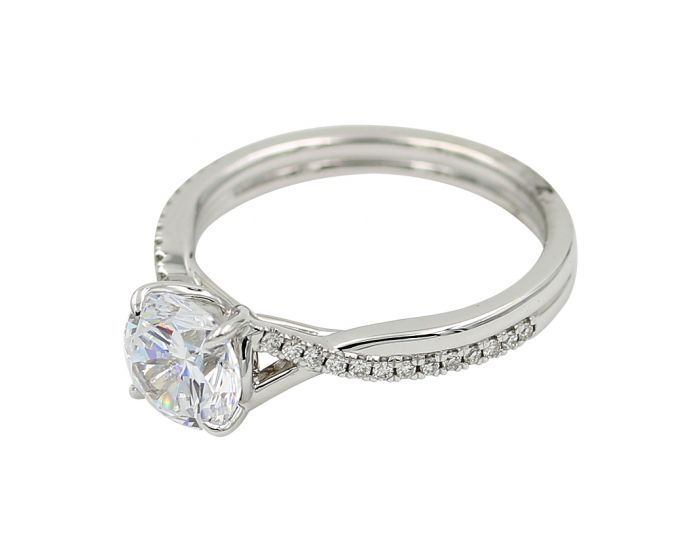 18kt White Gold Diamond Twist Engagement Setting 0.16 C.T.W