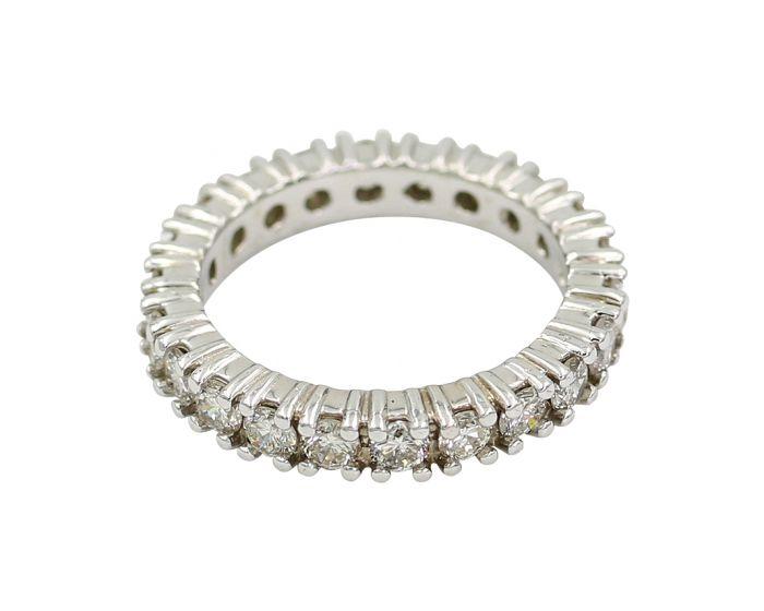 18Kt White Gold Diamond Eternity Wedding Band 1.85 C.T.W.