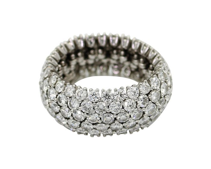 Alicia's Jewelers Platinum Diamond Flex Eternity Wedding Band 8.03 C.T.W.