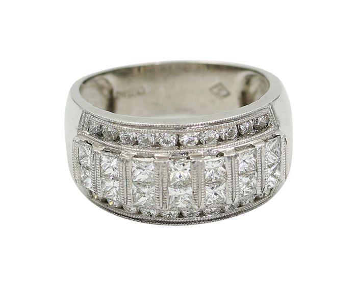 Platinum Diamond Wide Milgrain Wedding Band 2.10 c.t.w.