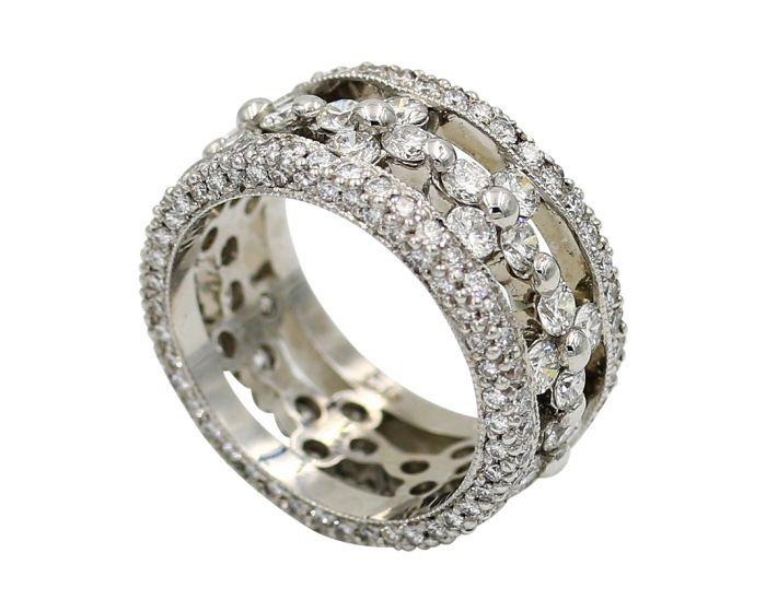 18kt White Gold Diamond Wide Band 3.39 c.t.w.