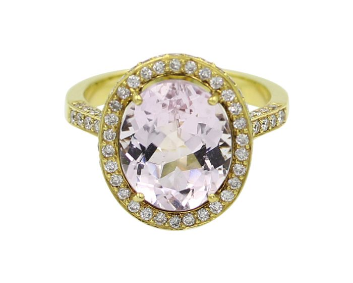 18kt Yellow Gold Diamond Kunzite Ring .93 c.t.w.