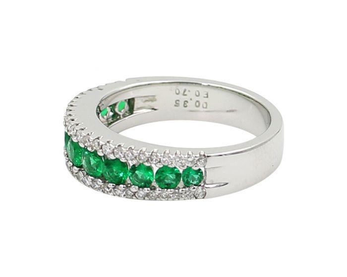 18kt White Gold Diamond and Emerald Wedding Band .35 c.t.w.
