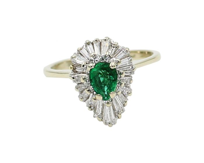 18kt White Gold Round and Baguette Diamonds Pear Shaped Emerald Ring 1.21 c.t.w.