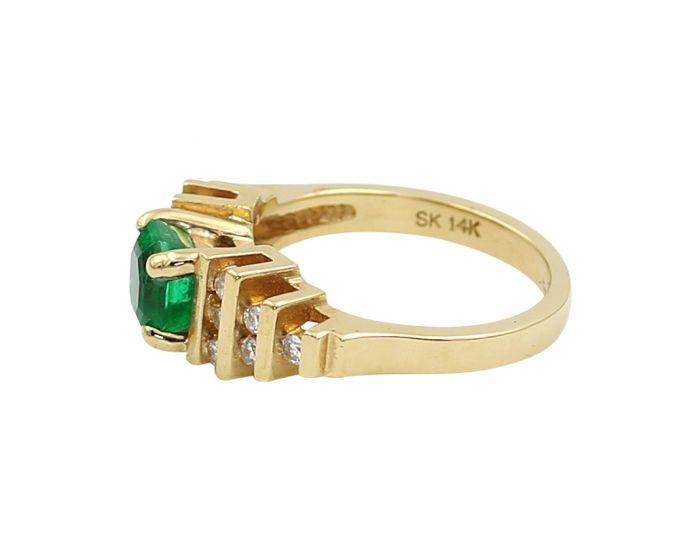 14kt Yellow Gold Diamond Square Emerald Ring 0.36 c.t.w.