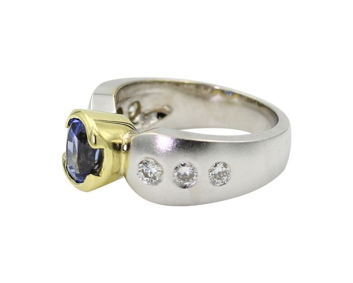 C. Gonshor 18kt Two Tone Gold Diamond and Oval Sapphire Ring 0.51 C.T.W