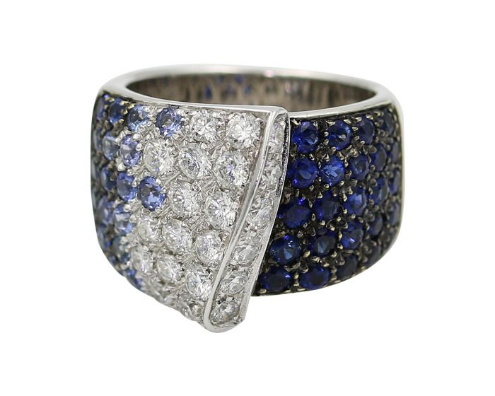 18kt White Gold Diamond and Sapphire Leo Pizzo Ring 1.17 ct. tw.