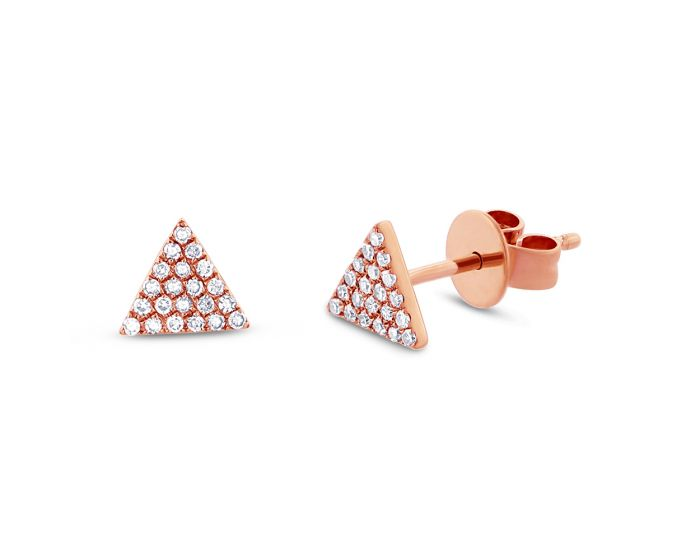 14k Rose Gold Diamond Pave Triangle Stud Earring .12 c.t.w.