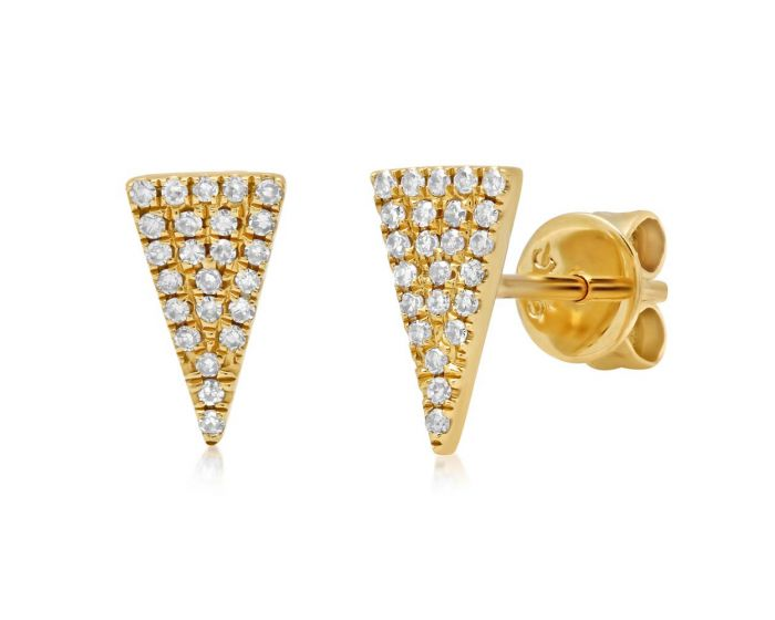 14k Yellow Gold Diamond Pave Triangle Stud Earring .12 c.t.w.