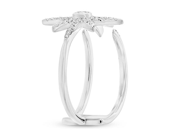 14k White Gold Diamond Star Ring .26 c.t.w.