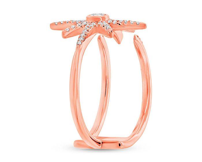 14k Rose Gold Diamond Star Ring .26 c.t.w.